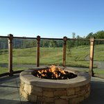Fire pit outside on the terrace of the main lodge