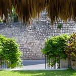 Garden gate facing walls of the Convent