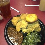 seafood, catfish, oysters, shrimp, collard greens, baked beans, cornbread and sweet tea.