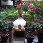 gardens and mini stupa in courtyard