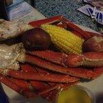 Yummy crab leg dinner