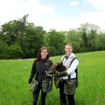 My sister and I with Mogwai the Harris Hawk