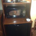 Mini fridge/microwave with snacks