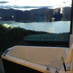 bath overlooking lake