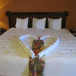Our bed was made every day with a wonderful display.