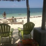 Chairs are under a tiki hut on the beach