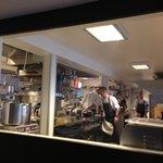 Kitchen and chefs working