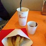 Churros, chocolate dip and scoffee