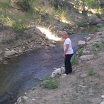 My favorite person and pet checking out the small stream behind the motel