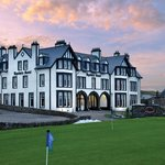 The Ugadale Hotel from Machrihanish G.C. practice green