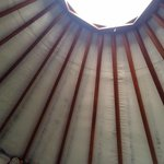Ceiling in the Yurt with skylight.