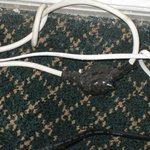 Spliced electrical cords near bed where I slept