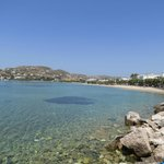 View of Paros bay, and hotel would be along road to the right