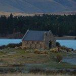 lake and church