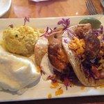 Swordfish tacos, mashed potatoes and rice pilaf - Delish!