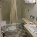 Sparkling clean bathroom with ample counter space