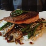 Pacific Steelhead Trout with Spring Veg.  Very good.