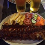this was our full rack or ribs, home made chunky chips and salad!!