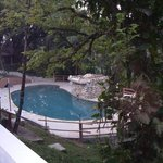 View from terrace - pool with waterfall