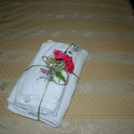 Fresh flowers on towels