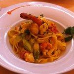 Home made pasta with shrimp and asparagus