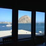 View of Morro Rock from inside the main dining area.