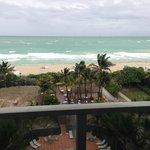 A windy rainy view of a beautiful beach