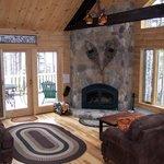 Fieldstone fireplace at Loon Lodge