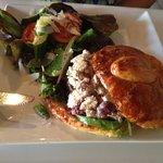 chicken salad sandwich and side salad