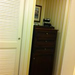 This cabinet housed the mini fridge and coffee maker
