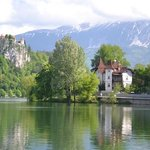 Vila Istra with Bled Castle in the background