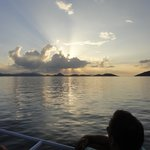 Sun setting as we take the ferry back from Tortola to St John