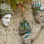 Masks on a wall in Valdemossa