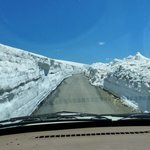 Snow wall on both sides of the road
