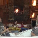 relaxed but divine dinner and wine by the fire
