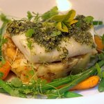Oven baked pollock topped with pumpkin seed pesto