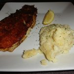 Parmesan-crusted white fish and mashed potatoes