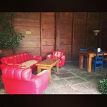 Cafe Liberia red leather sofa