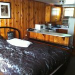 Our cabin. Cozy! Bathroom on the right, kitchenette on the left