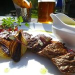 steak and a pint in the gardens