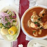 Fish ceviche and tomato based seafood soup