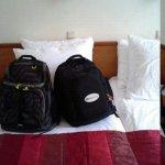 Trip Advisor backpack on bed!!