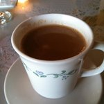 Masala tea = Darjeeling tea with spices, milk and sugar! yummy to order while you're waiting for