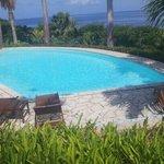 vue sur la piscine et la mer.