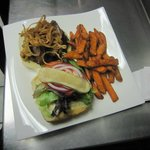 Maple Bacon Burger with yam fries