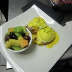 Traditional Eggs Benedict with house smoked peameal bacon