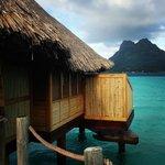 Overwater bungalow with view of Bora Bora's main island