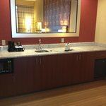 Wet bar, microwave, and mini fridge
