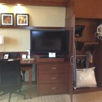 LG flat screen TV, Closet and Desk and pullout table
