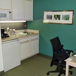 Work desk and kitchenette area